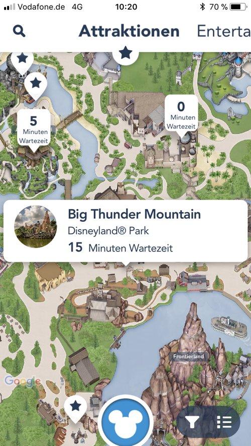 Attraktionen in der Kartenansicht der Disneyland Paris App