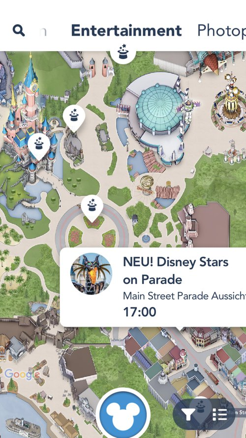 Entertainment Kartenansicht in der Disneyland Paris App