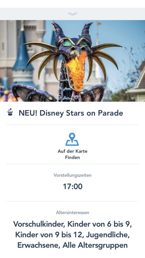 Entertainment Details in der Disneyland Paris App