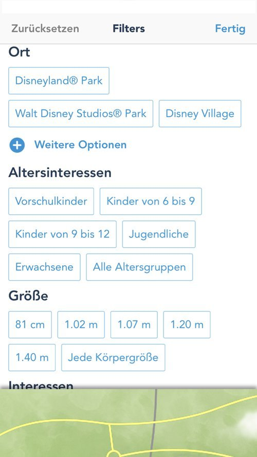 Filter Einstellungen der Disneyland Paris App