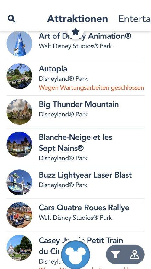 Listenansicht der Disneyland Paris App