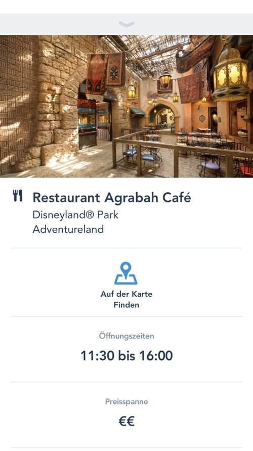 Restaurants Detailansicht in der Disneyland Paris App