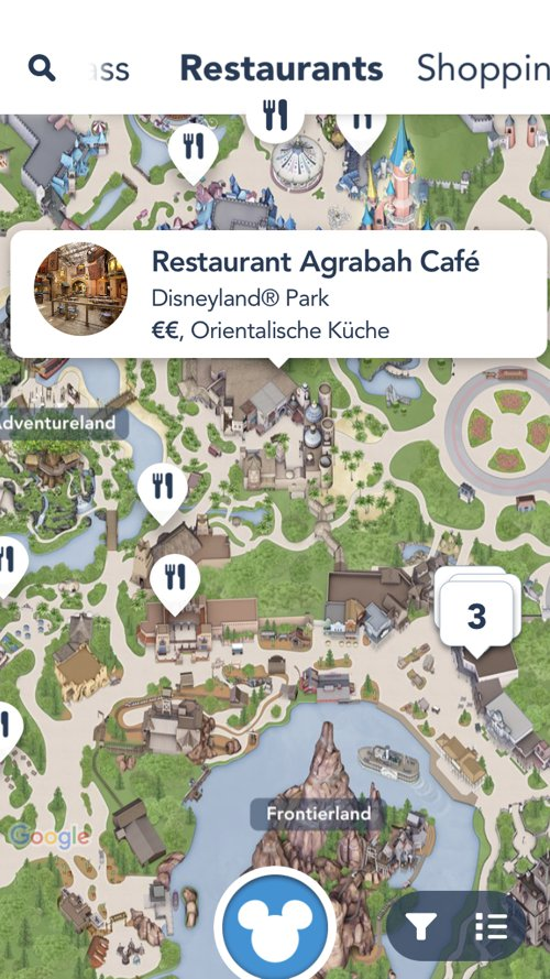 Restaurants Kartenansicht in der Disneyland Paris App