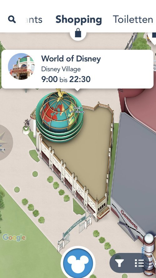Shopping Kartenansicht in der Disneyland Paris App