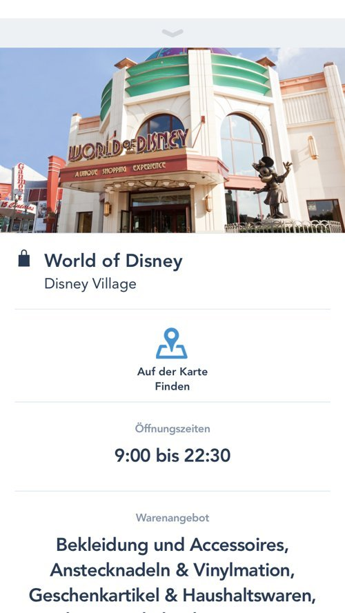 Shopping Detailansicht in der Disneyland Paris App