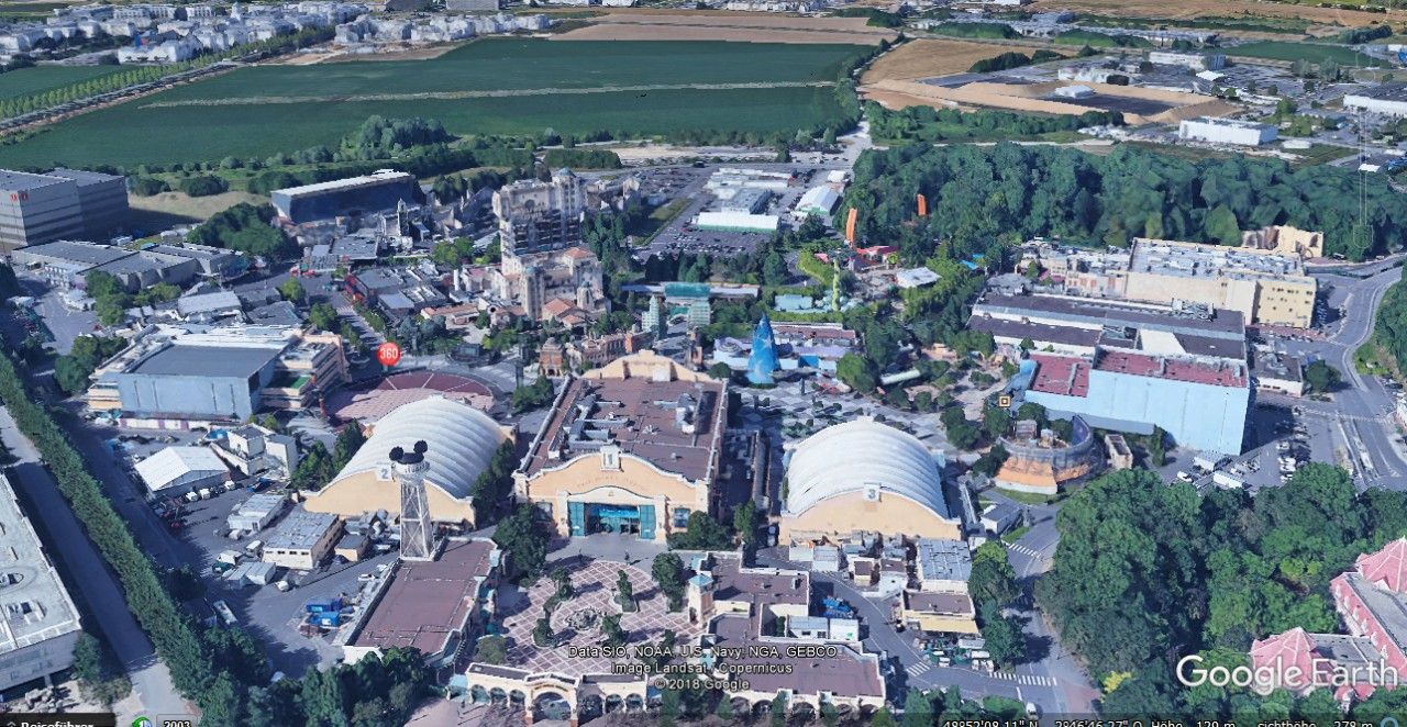 Die Walt Disney Studios in Google Earth