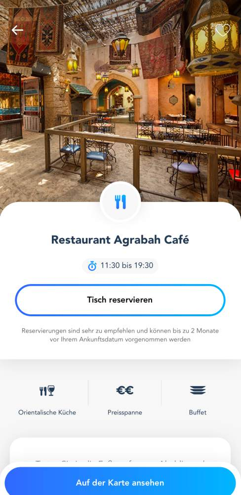 Disneyland Paris App Restaurants Details