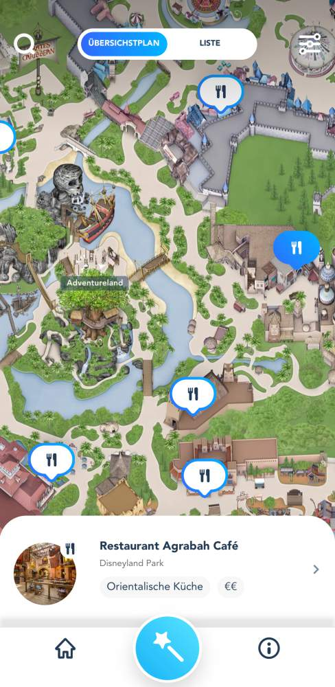 Disneyland Paris App Restaurants Karte