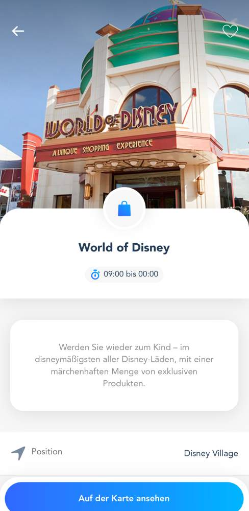 Disneyland Paris App Shopping Details