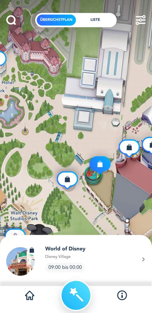 Disneyland Paris App Shopping Karte